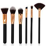 6 pcs Makeup Brush Set Blush Brush Eyeshadow Brush Lip Brush Powder Brush Foundation Brush Nylon Synthetic Hair Full Coverage Wood Face