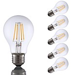 abordables -6pcs 4W 350lm E26 Bombillas de Filamento LED A60(A19) 4 LED COB Regulable Luces LED Blanco Cálido 2700K AC 110-130V