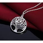Недорогие -Муж. Жен. Дерево жизни Простой Мода Ожерелья с подвесками , Серебрянное покрытие Ожерелья с подвесками , День рождения Повседневные