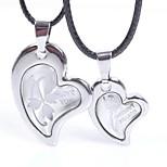 Недорогие -Муж. Жен. Сердце Сердце Милый Ожерелья с подвесками , Кожа Ожерелья с подвесками ,