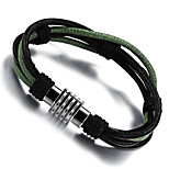 Men's Bracelet ID Bracelets , Fashion Rock Leather Titanium Steel Geometric , Jewelry Daily Street