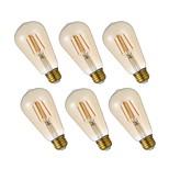 Недорогие -GMY® 6шт 4.5W 320 lm E26 LED лампы накаливания ST19 4 светодиоды COB Диммируемая Декоративная Эдисонская лампа Светодиодные фонарики