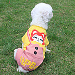 Dog Jumpsuit Dog Clothes Casual/Daily Cartoon Yellow Costume For Pets