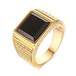 Недорогие -Муж. Классические кольца Оникс На каждый день европейский Мода Нержавеющая сталь Геометрической формы Бижутерия Свидание Для улицы