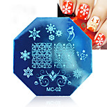 cheap -3 Pcs Nail Printing Template Christmas Printing Plate Octagonal Template MC Series 3 Color Mixed Women Decoration Cosmetic