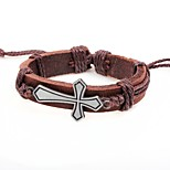 cheap -Men's Bracelet , Vintage European Leather Alloy Cross Circle Jewelry Gift Street