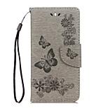 Недорогие -Кейс для Назначение Huawei Y5 III(Y5 2017) Y5 II / Honor 5 Кошелек Бумажник для карт со стендом Флип Рельефный Чехол Бабочка Твердый