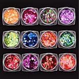 cheap -12 pcs Heart Shaped Sequins Multi-Color Nail Art Design