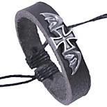 Men's Bracelet Rock Gothic Leather Alloy Circle Cross Jewelry For School Date