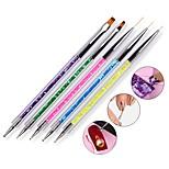 Недорогие -5pcs / set блестки ручки дизайн 2 стороны ногтей искусства пунктир перо uv гель лак рисования лайнер плоский гвоздь кисти наборы для
