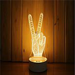 Недорогие -1 комплект 3d настроение ночной свет руки чувство dimmable usb питание подарочный светильник победа жест
