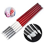 cheap -5Pcs/Set Wooden Handle Nail Art Brush Pen Silicone Head Carving Emboss Shaping Hollow Sculpture Acrylic Manicure Dotting Tools