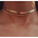 Недорогие -Жен. Геометрической формы европейский Ожерелья-бархатки Ожерелья-цепочки , Сплав Ожерелья-бархатки Ожерелья-цепочки , Повседневные