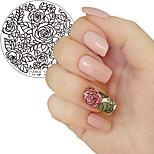 Недорогие -1pc цветущая роза цветок маникюр штамповка шаблон изображение пластины yzwle ногтей штамповки пластины маникюр трафарет инструментов