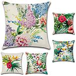 Недорогие -набор из 5 тропических растений цветы фламинго подушки крышка богемный наволочка 45 * 45 см подушка крышка