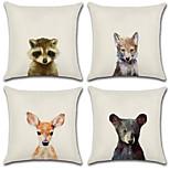 Недорогие -набор из 4 креативных 3d портретов животных портфолио подушки покрытие хлопок / белье подушка крышка 45 * 45 см наволочка случае