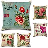 Недорогие -набор из 5 американских цветов розовые цветы наволочки классический квадратный диван подушка крышка 45 * 45 см наволочка случае