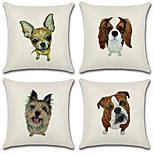 Недорогие -набор из 4 эскиз личности 3d собака шаблон подушка покрытие диван подушка покрытие квадратный наволочка случае домашний декор