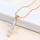 Недорогие -Муж. Жен. Крест На каждый день Классический Ожерелья с подвесками Ожерелья-цепочки Стразы Позолоченное розовым золотом Ожерелья с
