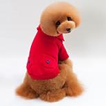 Недорогие -Кошка Собака Футболка Толстовки Толстовка Одежда для собак Стиль Сохраняет тепло Однотонный Серый Красный Синий Костюм Для домашних