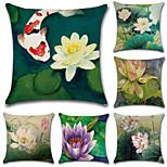 cheap -6 pcs Cotton/Linen Pillow CoverFloral Bohemian Style Retro