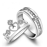 cheap -Men's Women's Couple Rings Cubic Zirconia 2pcs Fashion Copper Crown Jewelry Gift Valentine