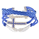 cheap -Men's Women's Wrap Bracelet Rhinestone Classic Fashion Leather Imitation Diamond Alloy Cross Wings / Feather Jewelry Daily