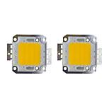 Недорогие -30w cob 2400lm 3000-3200k / 6000-6200k теплый белый / белый светодиодный чип dc30-36v 2шт
