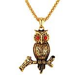 Недорогие -Муж. Сова Cool Ожерелья с подвесками Цирконий Нержавеющая сталь Ожерелья с подвесками , Повседневные