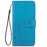 Недорогие -Кейс для Назначение OnePlus 5 OnePlus 5T Бумажник для карт со стендом Рельефный Магнитный Чехол Цветы Твердый Искусственная кожа для One