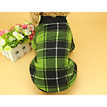 cheap -Cat Dog Sweatshirt Dog Clothes Check Simple Style Plaid/Check Red Green Costume For Pets