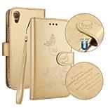 Недорогие -Кейс для Назначение Sony Xperia XA1 Бумажник для карт Кошелек со стендом Флип Рельефный Чехол Бабочка Твердый Искусственная кожа для Sony