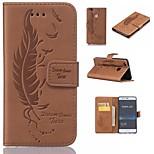 Недорогие -Кейс для Назначение Huawei P9 Lite P9 Кошелек Бумажник для карт со стендом Флип Рельефный Перья Твердый для