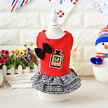 cheap -Dog Dress Dog Clothes Dresses&Skirts Casual/Daily Cute Style Bowknot Letter & Number Geometic Red Gray Costume For Pets