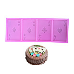 cheap -A Poker Cookie Chocolate Silicone Mold Playing Cards Cake Fondant Mold Kitchen Baking Tool
