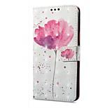 Недорогие -Кейс для Назначение OPPO R11 A57 Кошелек Бумажник для карт со стендом Флип С узором Магнитный Чехол Цветы Твердый Искусственная кожа для