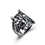cheap -Men's Statement Rings , Vintage European Oversized Stainless Steel Wolf Jewelry Halloween Club