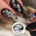 Недорогие -1шт Роскошь Гель для ногтей Пайетки Гель для ногтей Серебряный Образец Дизайн ногтей Советы для ногтей