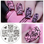 cheap -Rose Flower Nail Art Stamping Template Image Plate BORN PRETTY BP-73 Nail Stamping Plates Manicure Stencil Set