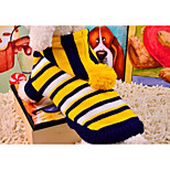 cheap -Cat Dog Sweaters Dog Clothes New Casual/Daily Striped Yellow Red Costume For Pets