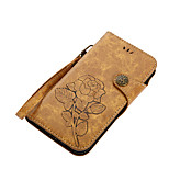 Недорогие -Кейс для Назначение Motorola G5 Plus E4 Plus Бумажник для карт Кошелек со стендом Флип С узором Магнитный Чехол Цветы Твердый