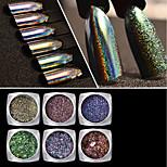 Недорогие -Гель для ногтей порошок Пайетки Классика хамелеон Градиент цвета Высокое качество Повседневные Дизайн ногтей