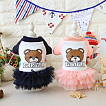 cheap -Dog Dress Dog Clothes Animals Dresses&Skirts Animal Bear Letter & Number Pink Blue Costume For Pets