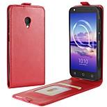 Недорогие -Кейс для Назначение Alcatel alcatel U5 4G A7 Бумажник для карт Флип Чехол Сплошной цвет Твердый Искусственная кожа для alcatel U5 HD