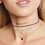 Недорогие -Жен. Круглый Секси Мода Ожерелья-бархатки Слоистые ожерелья Синтетический алмаз Искусственный бриллиант Сплав Ожерелья-бархатки Слоистые