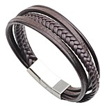 cheap -Men's Bracelet , Casual Fashion Stainless Steel Leather Circle Jewelry Going out Street