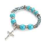 cheap -Men's Women's Strand Bracelet Turquoise Rhinestone Simple Classic Fashion Imitation Diamond Turquoise Alloy Cross Jewelry Daily