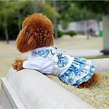 cheap -Cat Dog Dress Dog Clothes Stylish Cowboy Color Block Sequins Lace Blue Costume For Pets