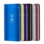 Недорогие -Кейс для Назначение Huawei P10 Lite P10 со стендом Покрытие Зеркальная поверхность Флип Авто Режим сна / Пробуждение Чехол Сплошной цвет