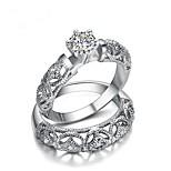 Недорогие -Муж. Жен. Кольца для пар Цирконий 2шт Мода Позолота В форме короны Бижутерия Подарок Валентин
